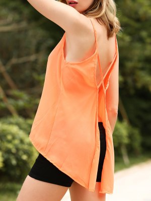 Solid Color Cut Out Spaghetti Straps Sleeveless Tank Top - Orangepink