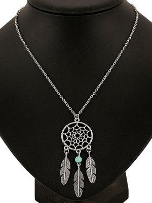 Feathers Hollow Out Spider Web Pendant Necklace - Silver