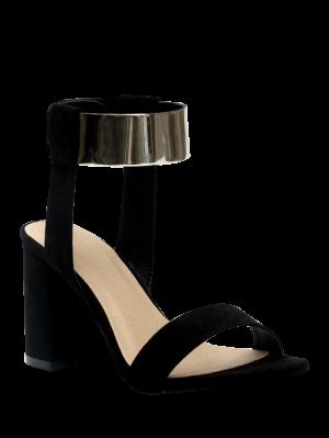 Black Flock Chunky Heel Sandals - Black