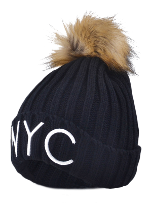 Knitted NYC Embroider Pom Ball Beanie Hat - Black