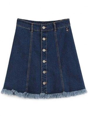 Button-Front Denim Skirt - Deep Blue