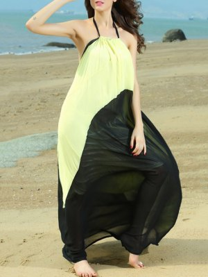 Color Block Halterneck Maxi Dress - Yellow And Black