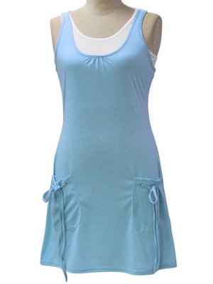 White Crop Tank Top And Solid Color Dress Twinset - Light Blue