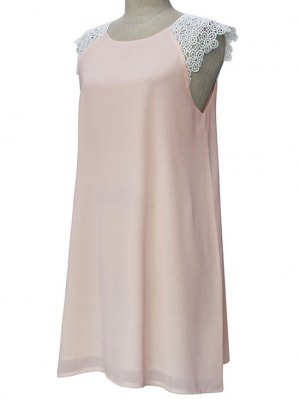 Sleeveless Round Collar Lace Spliced Dress - Light Pink