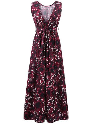 Floral Print Round Collar Sleeveless Maxi Dress - Claret