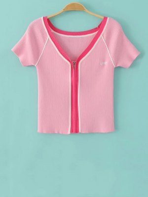 Color Block V Neck Short Sleeve Cropped T-Shirt - Pink
