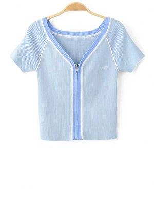 Color Block V Neck Short Sleeve Cropped T-Shirt - Blue