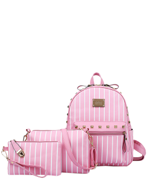 Striped Rivet PU Leather Backpack - Pink