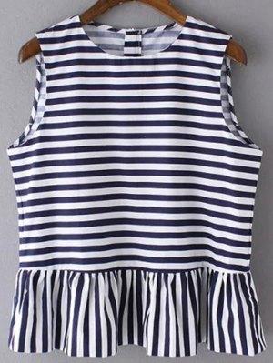Striped Jewel Neck Sleeveless Ruffles Spliced T-Shirt - Deep Blue