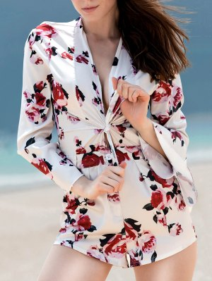 Bell Sleeve Tie Front Floral Romper