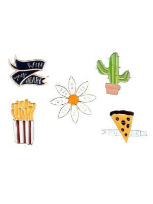 Floral Letter Cheese Cactus Brooch Set - Golden