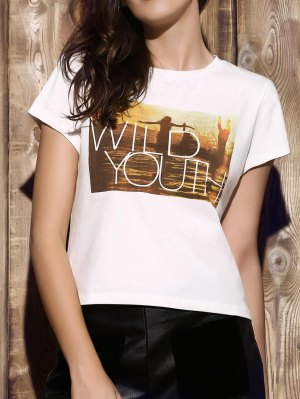 Patterned Cropped White T-Shirt - White