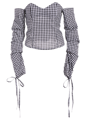 Off The Shoulder Checked Blouse - Black