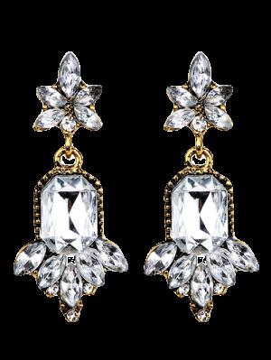 Faux Crystal Chandelier Floral Drop Earrings - White