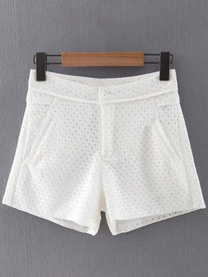 Lace Solid Color Pockets Shorts - White