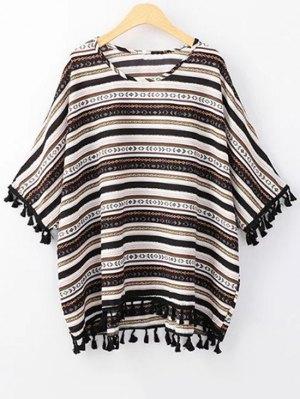 Ethnic Print Scoop Neck 3/4 Sleeve T-Shirt - Black