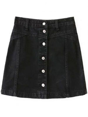A Line Button Up Denim Skirt - Black