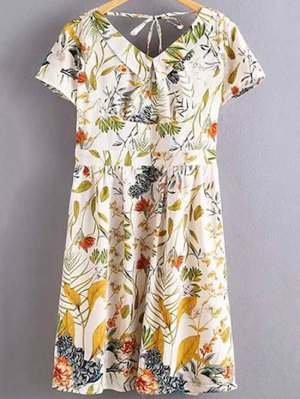 Floral Print Flat Collar Short Sleeve Back Crossed Dress - White