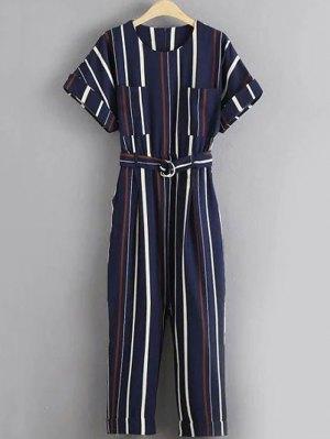 Stripe Round Neck Short Sleeve Jumpsuit - Stripe