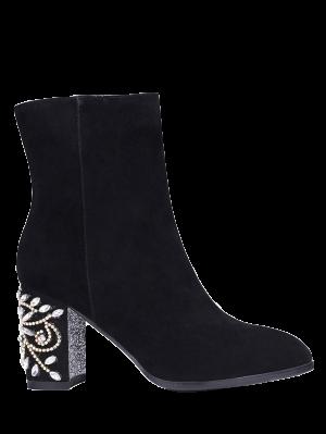 Rhinestones Chunky Heel Zipper Ankle Boots - Black