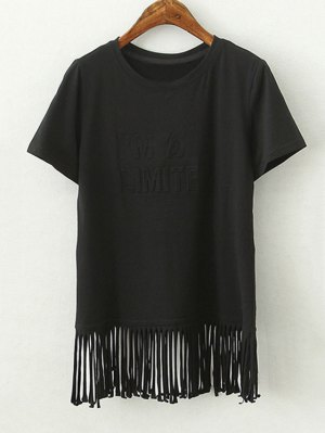 Tassels Spliced Round Collar Short Sleeve T-Shirt - Black