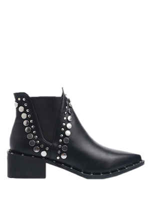 Punk Metal Pointed Toe Ankle Boots - Black