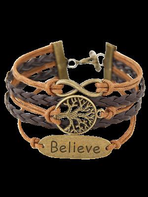 Tree Of Life Braided Bracelet - Brown