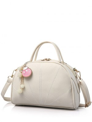 Pendant Stitching Candy Color Tote Bag - Off-white