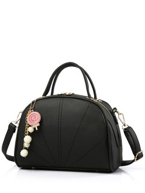 Pendant Stitching Candy Color Tote Bag - Black