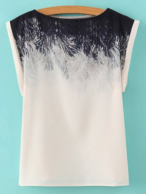 Printed Slash Neck T-Shirt - White