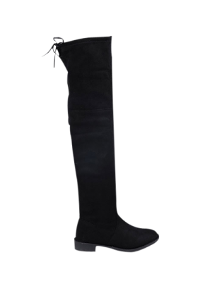 Suede Flat Heel Thigh High Boots - Black