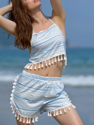 Printed Halter Crop Top And Shorts Twinset - Blue And White