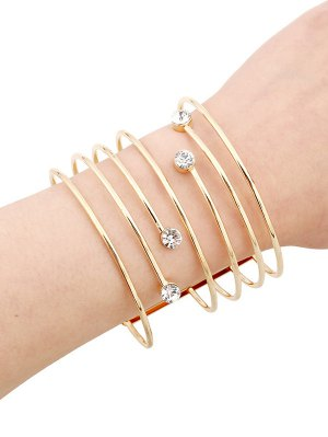 Rhinestone Hollow Out Bracelets - Golden