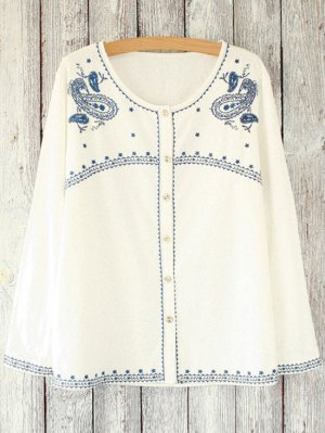Loose Retro Embroidered Round Neck Long Sleeve Blouse - White