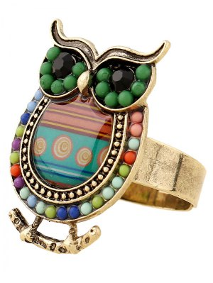 Bead Owl Shape Ring - Green
