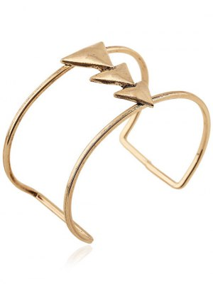 Triangle Two Layered Cuff Bracelet - Golden
