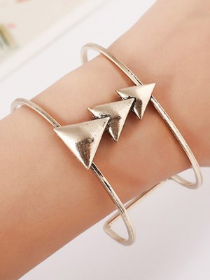 Triangle Two Layered Cuff Bracelet - Silver