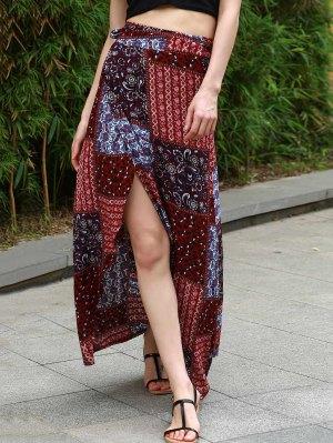 Ethnic Print High Waist High Low Skirt