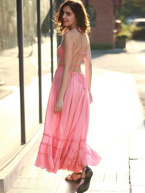 Solid Color Open Back Halter Sleeveless Dress - Peach Red