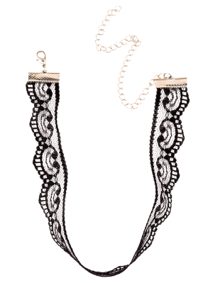 Adjustable Lace Choker Necklace - Black