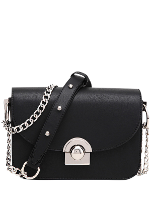 Chain Metal Ring Solid Color Crossbody Bag - Black