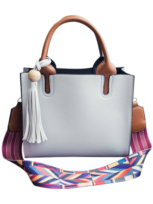 Tassels Color Block Bead Tote Bag - Light Gray