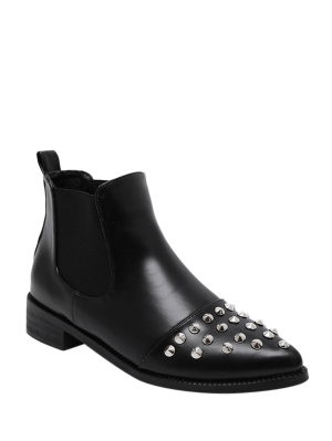 Pointed Toe Rivets Elastic Band Ankle Boots - Black