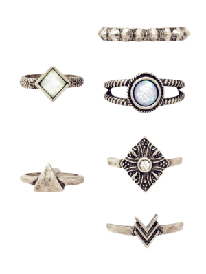 Bagues à 6 pièces rétros géométriques tribaux