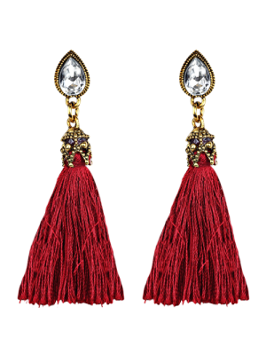 Rhinestone Tassel Water Drop Earrings - Red