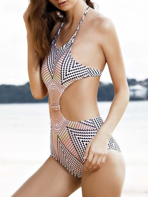 High-Neck One-Piece Striped Swimwear - White L