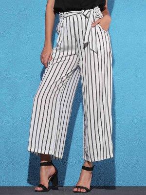 Side Knot Stripe Wide Leg Pants