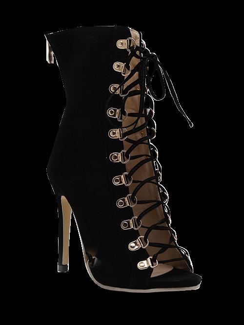 Tie Up Black Stiletto Heel Peep Toe Shoes
