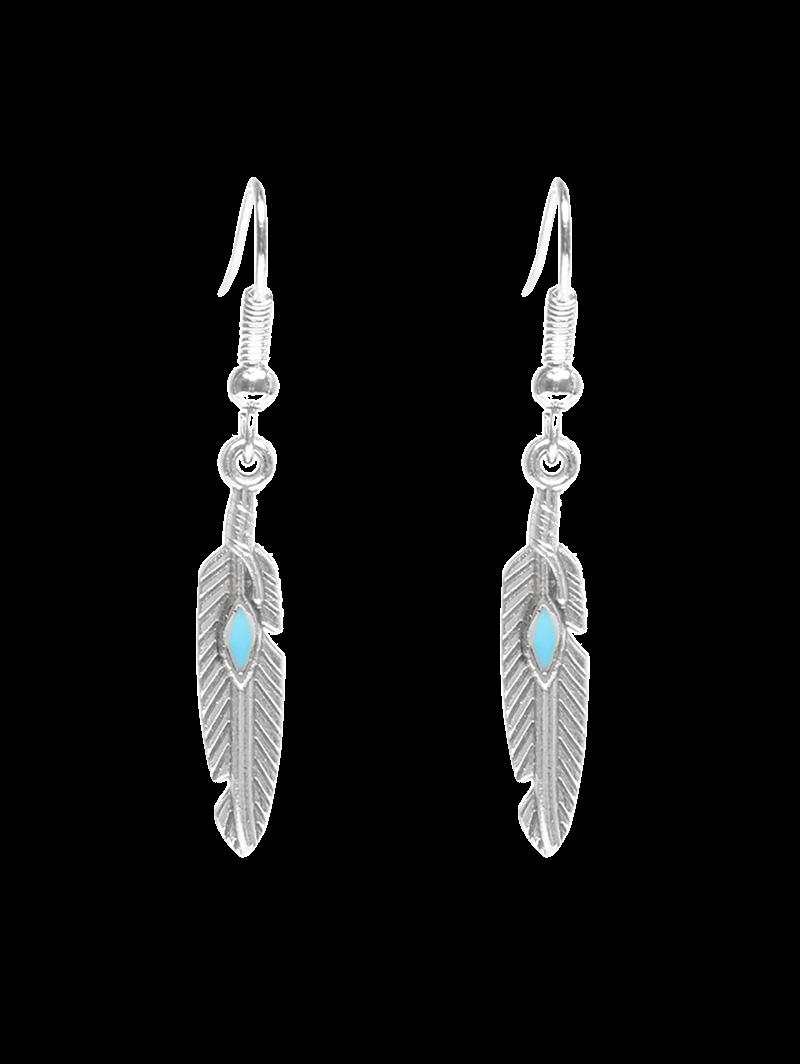 Feather Beaded Resin Earrings