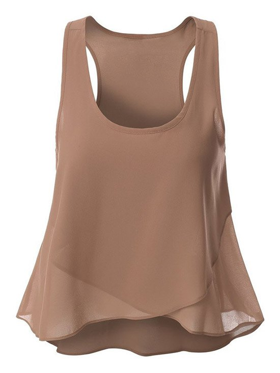 Overlaped Chiffon Tank Top